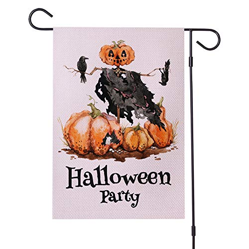 Botai wight Halloween Party Garden Flag Vertical Double Sided,Water Resistant Material, Crow Raven Pumpkin Jack O'Lantern 12 x 18 Inch Halloween Farmhouse Autumn Burlap Yard Outdoor Decoration ()