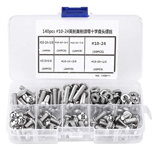 ねじ、140本のねじセット、工作機械およびアクセサリ用のプラスチックボックス付き#10-24ステンレス鋼クロスなべ小ねじ