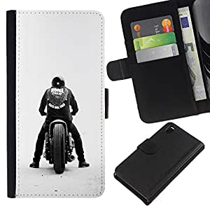 KLONGSHOP // Tirón de la caja Cartera de cuero con ranuras para tarjetas - Bobber cuadrilla de la motocicleta - Sony Xperia Z3 D6603 //
