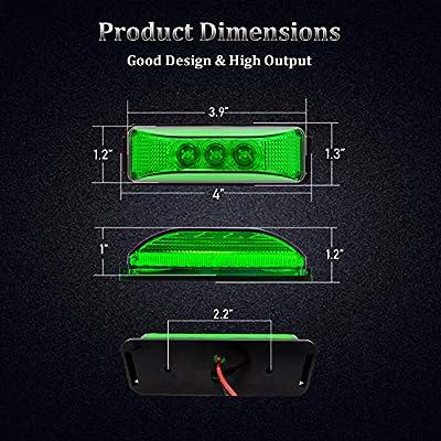 PSEQT 4X Trailer Marker Lights LED Side Indicators Lights Reflector Rectangular Rectangle Lights Bar Surface Mount Lamp for Truck Cab RV Bus Boat Trailer Camper: Automotive
