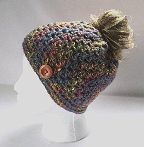 Handmade Messy Bun Hat Tweed Grey Beanie Wood Button Ponytail Holder Crochet Cloche