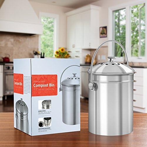 Gris//Crème /& cuisine en acier inoxydable Compost Caddy /& Pack de 1 Filtres