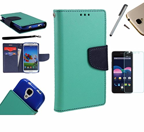 Photo - For Microsoft Lumia 550 Phone Case PU Leather Flip Cover Folio Book Style Pouch Card Slot Wallet + [WORLD ACC®] LCD Screen Protector+ Stylus (Teal/Navy Blue)