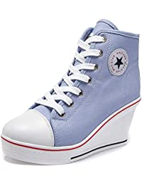 Womens Girl's Casual Plus Size High Top Wedge Heel Canvas Shoes Fashion Sneaker