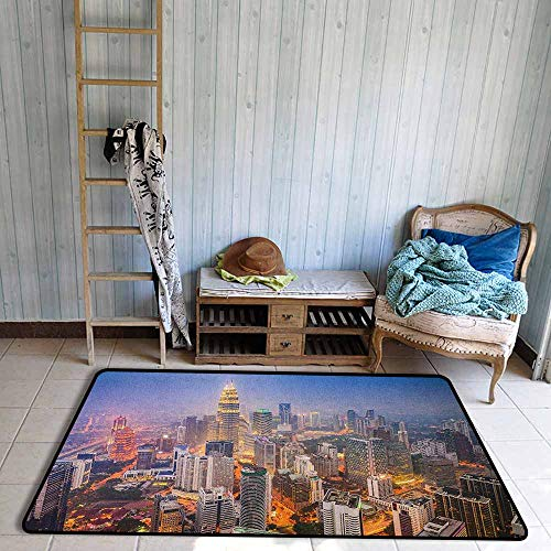 Indoor/Outdoor Rug,Urban Modern City Skyline Business District Skyscraper Towers Kuala Lumpur Malaysia,Ideal Gift for Children,3'3
