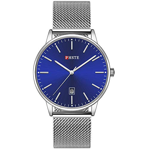 PHSTE Mens Watches 7.2mm Slim Simple Analog Quartz Date Luminous Waterproof Thin Blue Face Silver Steel Mesh Band Casual Dress Wrist Watch