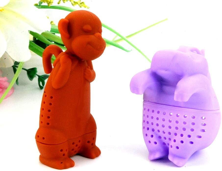 Lot of 2 Purple Hippo hippopotamus & Brown Monkey Tea Infuser Loose Leaf Strainer Herbal & Fruit Tea Filter Diffuser Food Grade Silicone BPA free fun to tea time for pet animal lovers wild life 2pcs