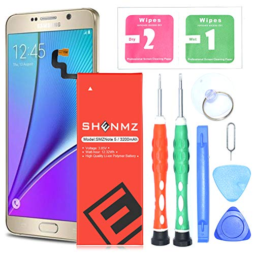 ([Upgraded] Galaxy Note 5 Battery,3200mAh Internal Li-ion Polymer Replacement Battery for Samsung Galaxy Note 5 SM-N920 N920T N920A N920P N920V EB-BN920ABE + Free Screwdriver Tool[24 Month Warranty])