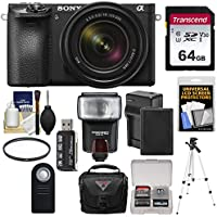 Sony Alpha A6500 4K Wi-Fi Digital Camera & 18-135mm Lens with 64GB Card + Battery & Charger + Case + Tripod + Flash Kit