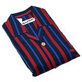 Men's Knightsbridge Red Stripe Pajamas Set, Fine Brushed Cotton Top & Trousers, Thick Red & Blue Stripe Large