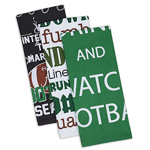 "DII Cotton Everything Football Dish Towels, 18 x 28"" Set of 3, Decorative Oversized KitchenTowels for Everyday Cooking and Baking"
