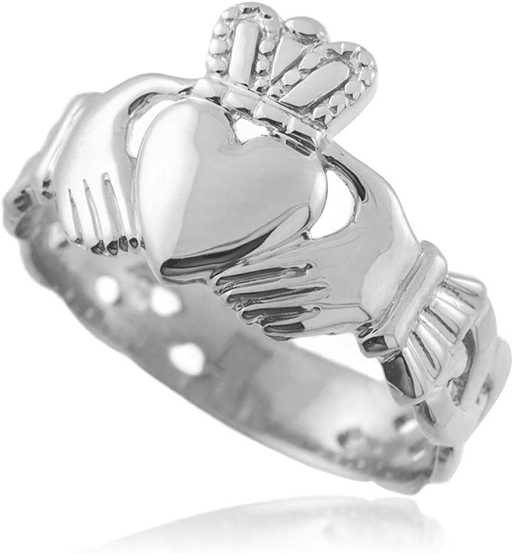 Silver /& 10ct Gold Heart Irish Celtic Claddagh Trinity Knot Ring Jewellery Boxed