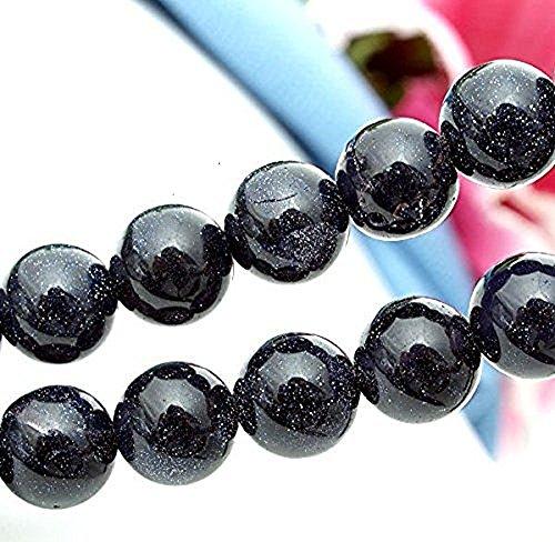 Ecloud Shop® 2 Strands Bleu Goldstone Grès Perles 10mm rondes