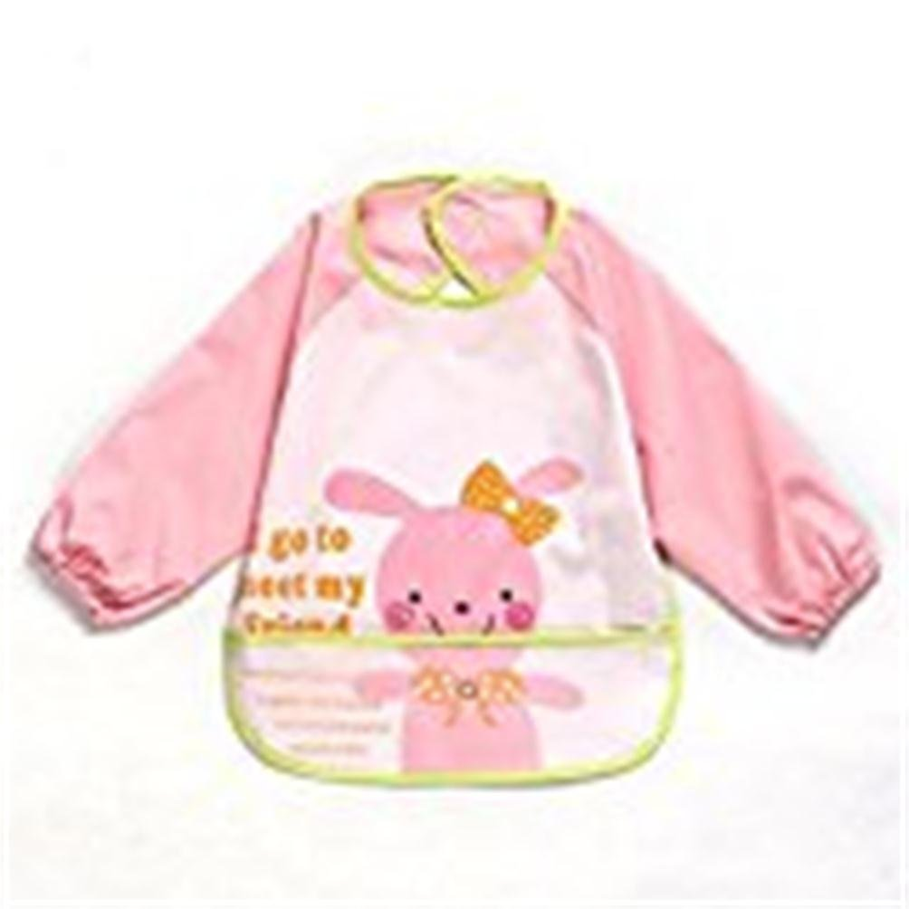 1 Pcs Oral-Q Unisex Kids Childs Arts Craft Painting Apron Baby Waterproof Bibs with Sleeves&Pocket, 6-36 Months,Set of 3 (Pink Rabbit)
