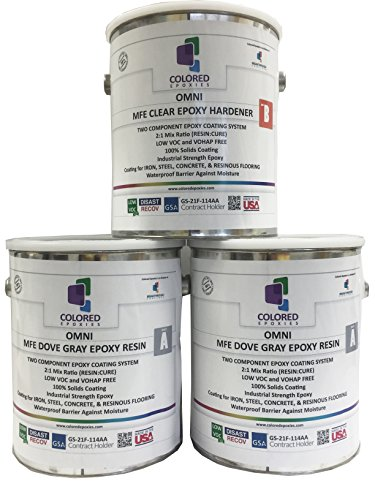 Coloredepoxies 10019 Light Gray Epoxy Resin Coating Made with Beautiful and Vibrant Pigments, 100% solids, For Garage Floors, Basements, Concrete and Plywood. 3 Gallon Kit