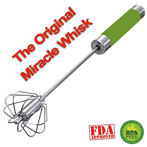 The Original Miracle Whisk Self Mixer Stainless Steel No Batteries Hand Push Mix Whip Froth - Real Cooks Use Real Tools (Green) (Miracle Cookware compare prices)