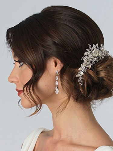 USABride Silver-Tone Rhinestone Floral Ivory Hair Comb, Crystal Bridal Hair Accessory 2223
