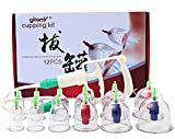 Cupping Therapy Set,12-Cup Chinese Vacuum Cupping Massage Kit,Plastic Cupping Therapy Equipment Set with Pumping Handle,Medical Cupping Massage for Pain Relief,Relaxation