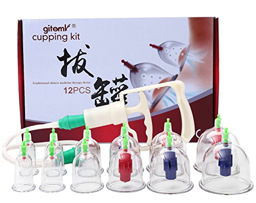 Acupuncture Cupping Therapy Set,12-Cup Biomagnetic Chinese Vacuum Cupping Massage Kit with Pumping Handle and Extention Tube,Medical Cupping Massage for Pain Relief, Relaxation