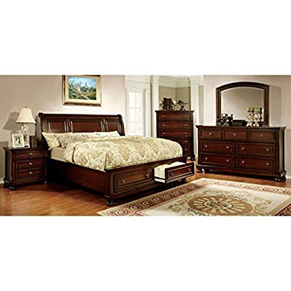 Amazon.com: Northville Transitional Style Dark Cherry Finish King ...