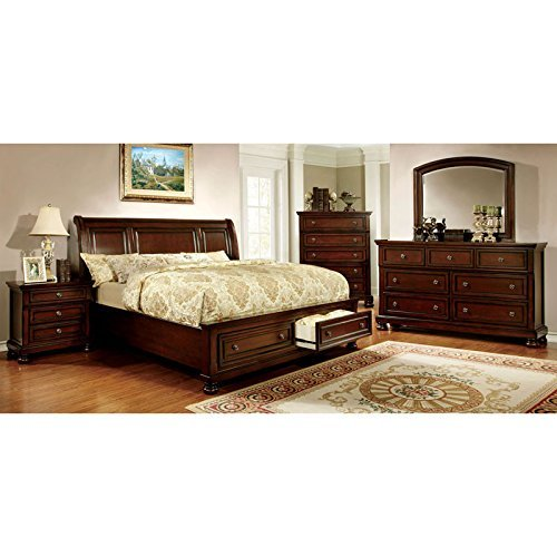Bedroom Cherry Bedroom Set - 247SHOPATHOME IDF-7683EK-6PC Bedroom-Furniture-Sets, King, Cherry