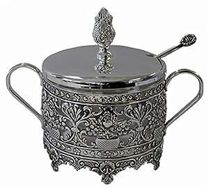 "L'Shanah Tovah Happy&Healthy Decorative Dish Silver Plated/Glass 44181B - 4"" H"