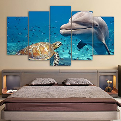 Modular Wall Art Pictures Canvas HD Printed Home Decor 5 Pieces Blue Deep Ocean Dolphin Fish Paintings Sea Turtle Posters Frame,40x60 40x80 40x100cm,Frame Deep Blue Ocean Dolphins