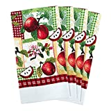 JJ Collection 4 Pack Absorbent Kitchen Dish Towels 15x25 Cotton Poly (Apple)