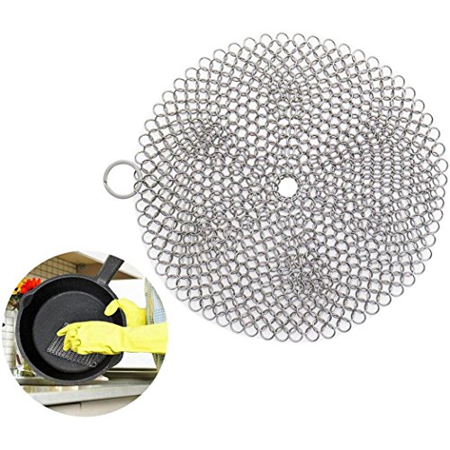 Pulison(TM) Premium Cast Iron Skillet Cleaner Stainless Steel Chainmail Scrubber Large Circular Wire Metal Pot Cleaner, Made of Rust Proof Chain Mail (C20X20cm)