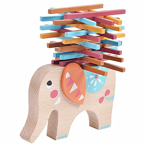 Elephant Stacking Toy (Kids Educational Toys Elephant Balancing Beam Blocks Wooden Toys Stacking Blocks Bar Game Building)