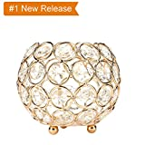 Hohaski Crystal Tea Light Candle Holders- Wedding Coffee Table Decorative Centerpieces for Birthday Party House Gifts,4-7 Inch Diameter (6.7 Inches, Gold)