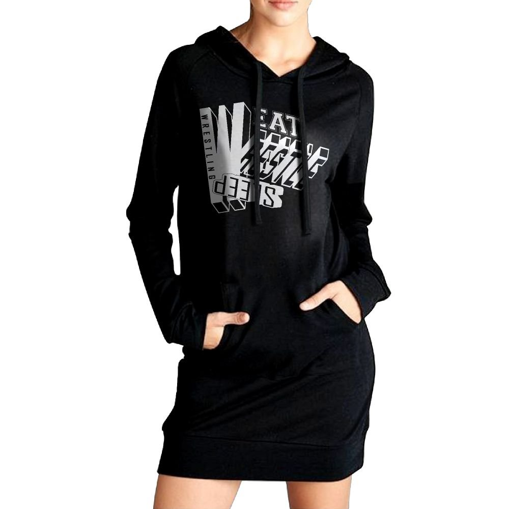 WU-RONGRONG WU Sweatshirt Dress Hoodie Pockets Eat Sleep Wrestle Wrestling Long Hoodie For Women by WU-RONGRONG WU