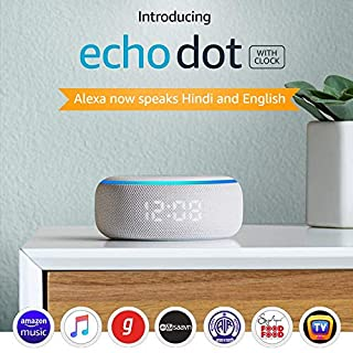 515XhR7LKpL. SS320 Echo Dot (3rd Gen) with clock - Smart speaker with Alexa and LED display (White)