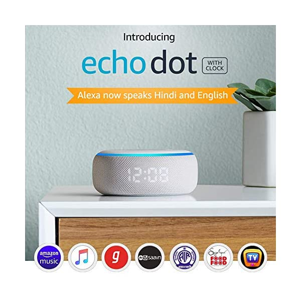 515XhR7LKpL Echo Dot (3rd Gen) with clock - Smart speaker with Alexa and LED display (White)