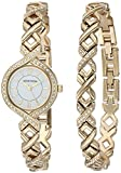 Armitron Women's 75/5412WTGPST Swarovski Crystal Accented Gold-Tone Watch and Bracelet Set