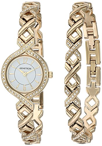 Armitron Women's 75/5412WTGPST Swarovski Crystal Accented Gold-Tone Watch and Bracelet Set ()