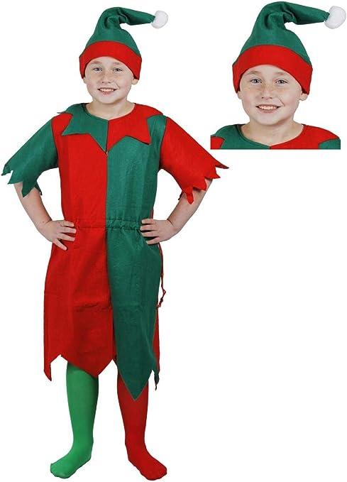 ILOVEFANCYDRESS Disfraz DE Elfo para NIÑOS - TÚNICA Verde Y ROJA + ...