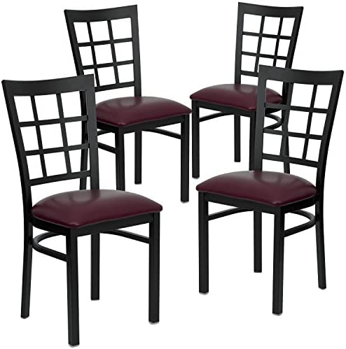 Flash Furniture 4 Pk. HERCULES Series Black Window Back Metal Restaurant Chair – Burgundy Vinyl Seat