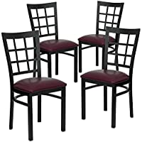Flash Furniture 4 Pk. HERCULES Series Black Window Back Metal Restaurant Chair - Burgundy Vinyl Seat