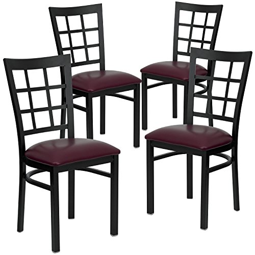 Flash Furniture 4 Pk. HERCULES Series Black Window Back Metal Restaurant Chair – Burgundy Vinyl Seat For Sale