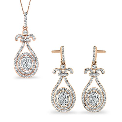 18K Rose Gold 1.13 Ct.Real Natural Round Cut Diamond Drop Dangle Earrings Pendant Set (Free Silver Chain)