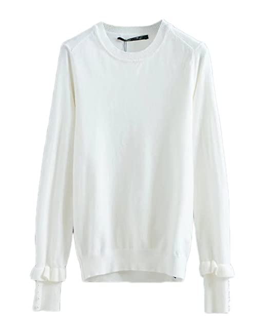 Mujer Jersey A Rayas Moda Tops Cuello Redondo Camisa Mangas Largas Blusa Blanco L