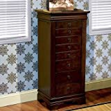 Elegant Jewelry Armoire With Hardwood Solids And MDF Wood Construction, Cherry Finish, Drawer Pulls In Antique Brass Finish, Touch-Sensitive Side Opening Compartments, Mirror And Ring Pads
