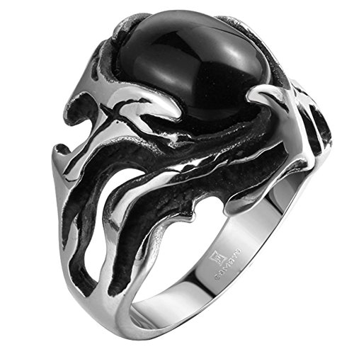 (JAJAFOOK Mens Classic Black Gem Hollow Ring, Stainless Steel Ring Band Biker Tribal Ring )