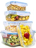 Royal Glass Food Storage Containers - 10-Piece Set - BPA Free and Microwave Safe with Lids -...