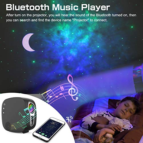 Star Projector,Delicacy 3 in 1 Galaxy Projector Starry Moon Night Light with Bluetooth Music Speaker,Remote Control Rotating LED Nebula Light for Home Theatre/Kids Adults Bedroom Decoration