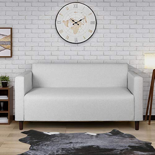Upholstered Loveseat Sofa Living Room Settee Contemporary Family Simple Style Sofa Lounge Couch with Thick Sponge Breathable Fabric (Couch Settee Sofa)
