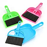 TXIN Set of 3 Mini Dustpan and Broom Set, Pet Cage Broom Brush Dustpan Desktop Sweep Cleaning Brush for Reptile, Hedgehog, Hamster, Chinchilla, Guinea Pig, Rabbits and Other Small Animals