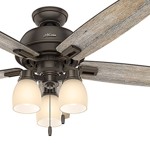Hunter Fan 52 inch Ceiling Fan with Three-light Fitter and Clear Frosted Glass in Brushed Nickel (Renewed) (Onyx Bengal Bronze)