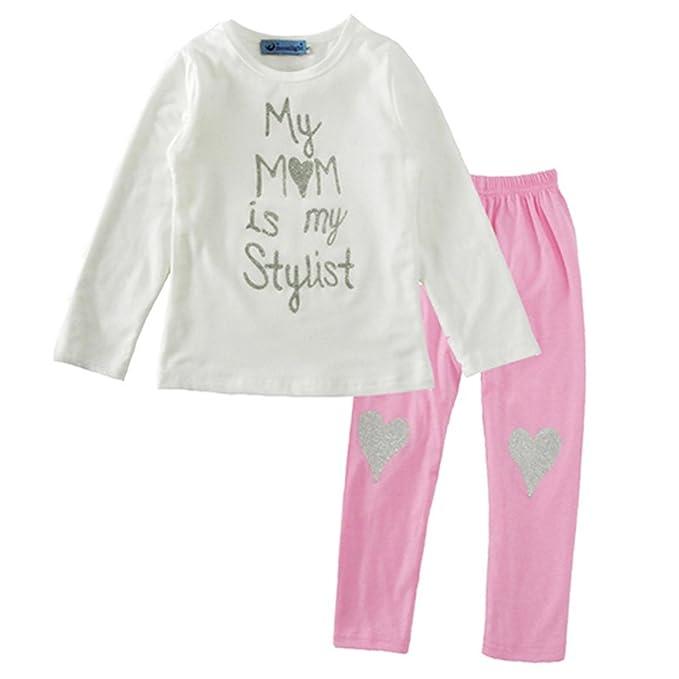 ZYS Niña Otoño Ropa Conjuntos Moda Blusas Manga Larga Carta Tops Corazón Pantalones Venda Bebé Vestidos